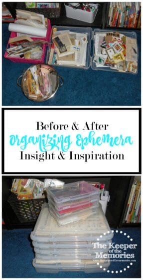 collage of ephemera organization images with text: Organizing Ephemera Before & After