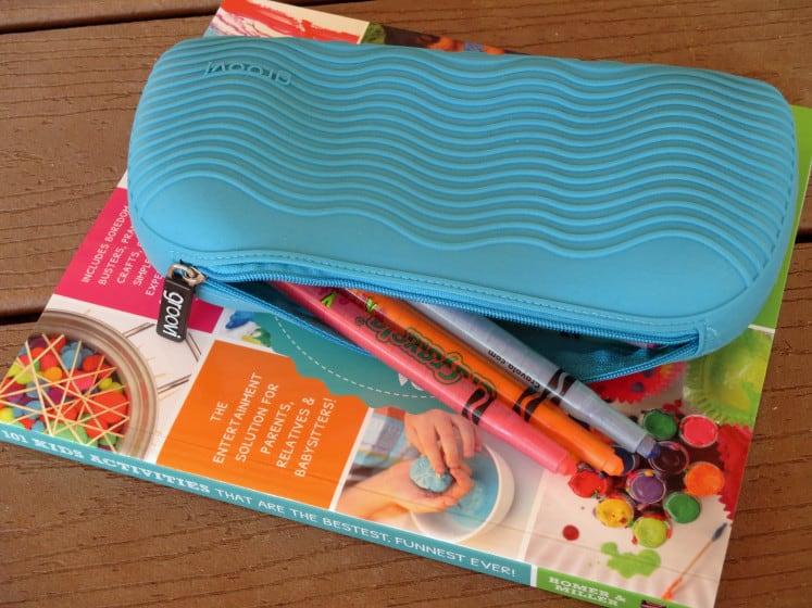 zipper pencil case on activity book