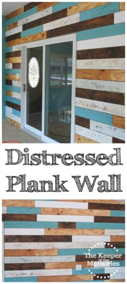 collage of distressed plank wall photos with text: Distressed Plank Wall