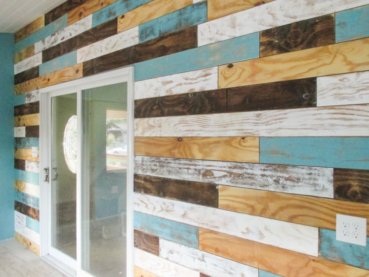 distressed plank wall around sliding glass door