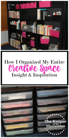 collage of organized craft room images with text: How I Organized My Entire Creative Space