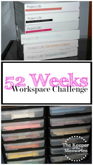 collage of organized craft supplies with text: 52 Weeks Workspace Challenge