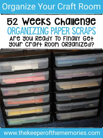 paper scraps in Iris storage unit with text overlay: 52 Weeks Challenge. Organizing Paper Scraps. Are You Ready to Finally Get Your Craft Room Organized?