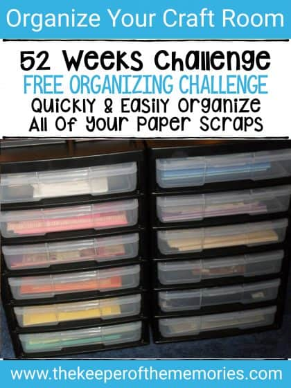 paper scraps in Iris storage unit with text overlay: 52 Weeks Challenge. Free Organizing Challenge. Quickly & Easy Organize All of Your Paper Scraps