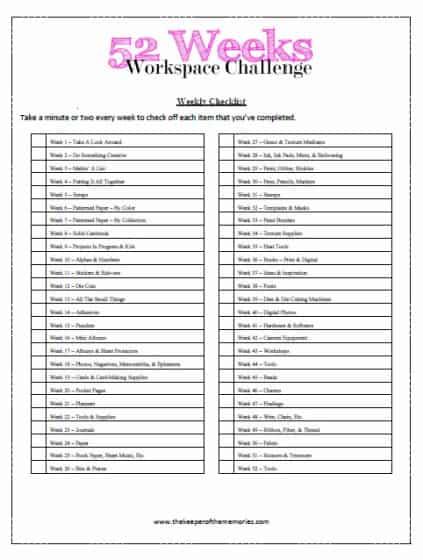 52 Weeks Workspace Challenge Weekly Checklist Printable