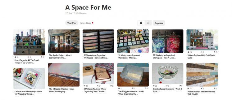 Pinterest inspiration board for craft room