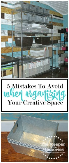 collage of craft room organization photos with text: 5 Mistakes to Avoid When Organizing Your Creative Space