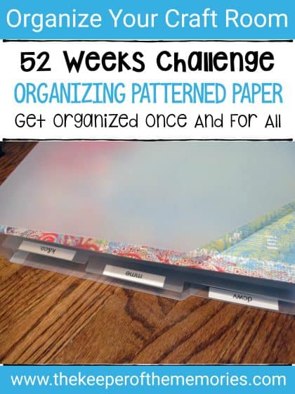 patterned paper in Cropper Hopper with text overlay: 52 Weeks Challenge. Organizing Patterned Paper. Get Organized Once and For All