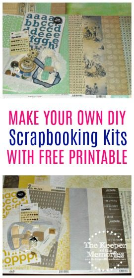 Make your own awesome DIY scrapbooking kits using supplies that you already have with free printable instructions! Save time and money! You're definitely going to want to check it out!