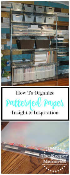 collage of organized patterned paper photos with text: How To Organize Patterned Paper