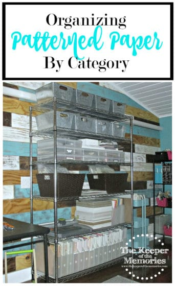 patterned paper and other scrapbooking supplies organized on wire shelf with text: Organizing Patterned Paper by Category