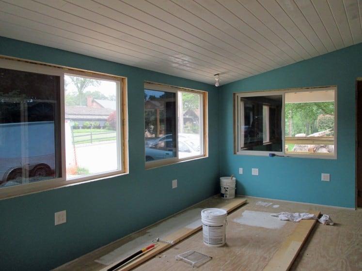 sunroom freshly painted