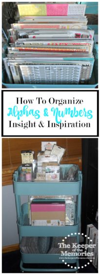 alphas, embellishments, numbers and mini albums organized in a rolling cart: How To Organize Alphas and Numbers