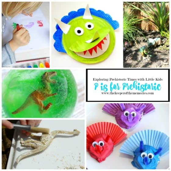 collage of dinosaur crafts and activities for little kids with text overlay: Exploring Prehistoric Times with Little Kids P is for Prehistoric