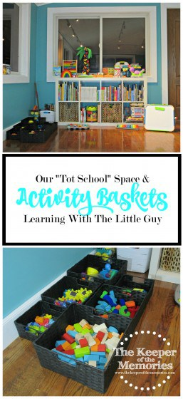 "If you've accumulated too many books, puzzles, and art supplies for your toddlers, you're definitely going to want to check out this mama's ""Tot School"" space & activity baskets."