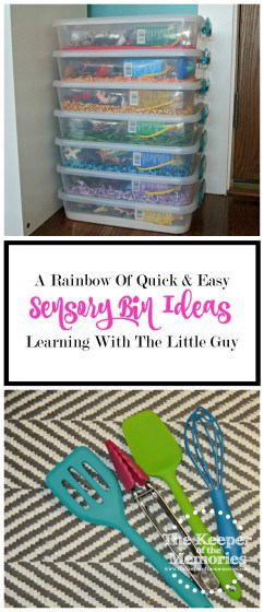 collage of rainbow sensory bins and tools for sensory activities with text overlay: A Rainbow of Quick & Easy Sensory Bin Ideas