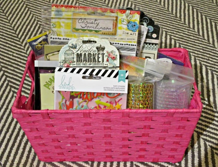 wicker basket filled with packaged embellishments