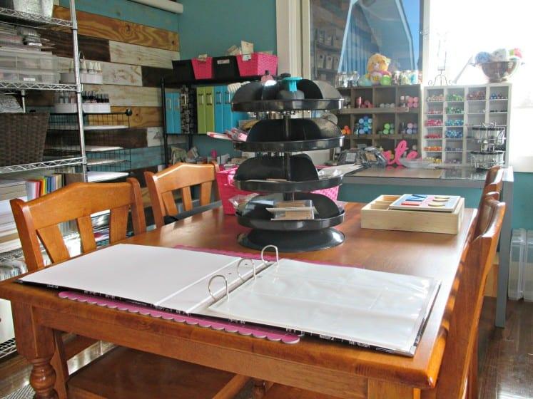 revolving organizer on wooden table