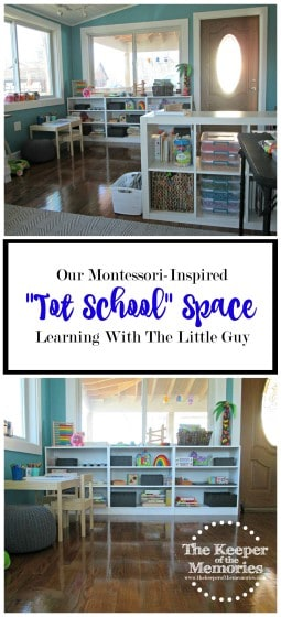 """There's a lot to love about Montessori-style spaces and I've spent entirely too much time looking at them on Pinterest lately. Lol... They seriously make me giddy and I'm so in love with our Montessori-inspired """"Tot School"""" space. It's no where near perfect and there's still a lot of work that needs to be done, but it's a start and that's all that matters, right? It's definitely awesome when everything is accessible to the little guy. Not only are our things easy to get out, but they're also easy to put away. And of course everything is organized."""