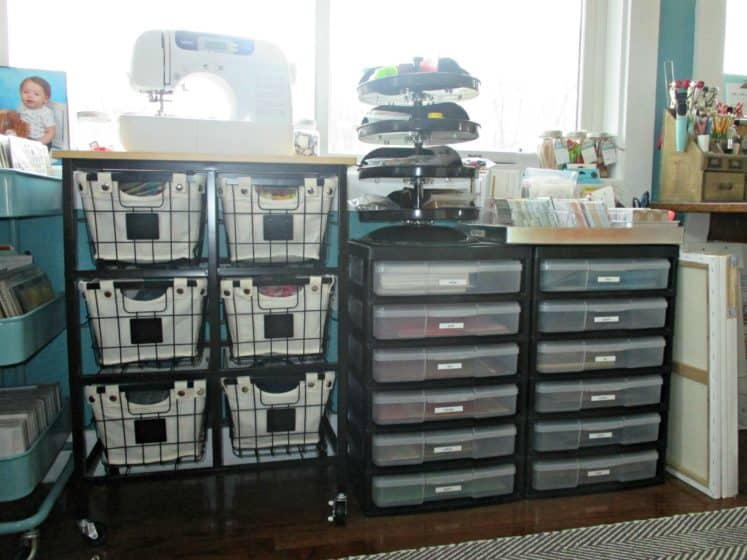 craft space with black wire rolling cart and Iris storage units