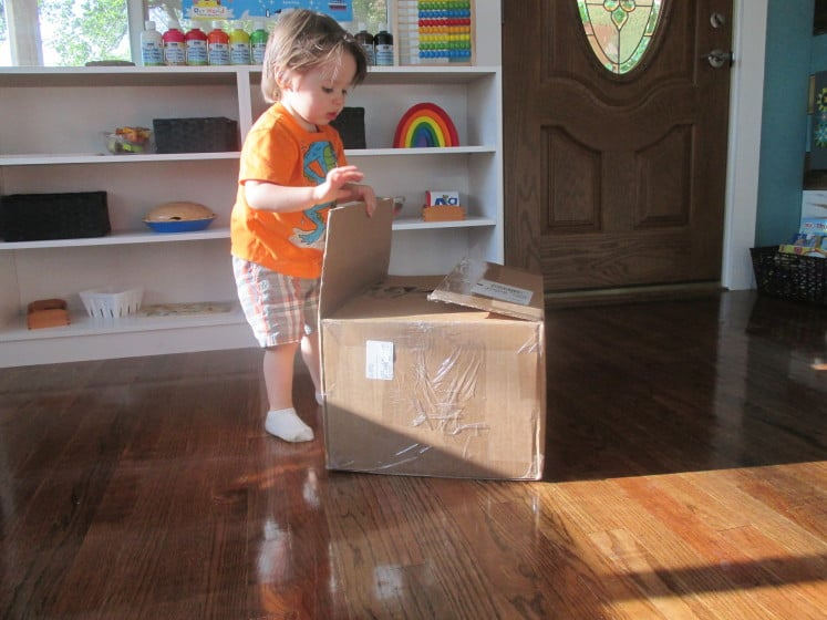 toddler looking at large box filled with homeschool curriculum