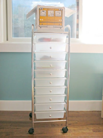 10-drawer rolling cart filled with preschool curriculum