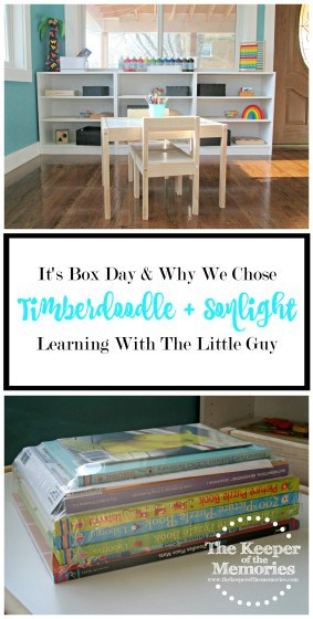 collage of hands-on homeschool curriculum with text overlay: It's Box Day & Why We Chose Timberdoodle + Sonlight