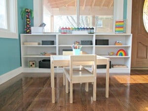 neat and organized children's play space