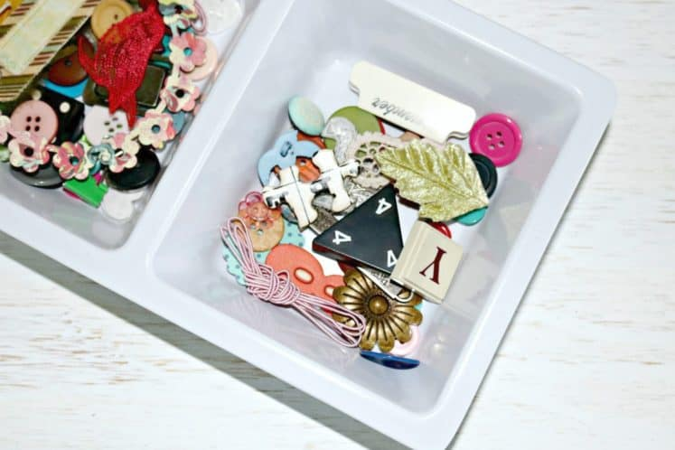 embellishments organized in divided tray