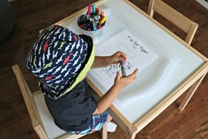 toddler coloring T is for Tiger coloring page