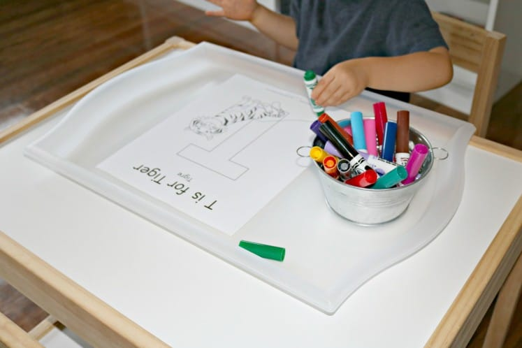 toddler boy coloring T is for Tiger coloring page