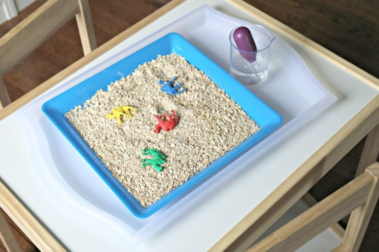 tray with camel manipulatives in oatmeal next to clear cup of water with eyedropper