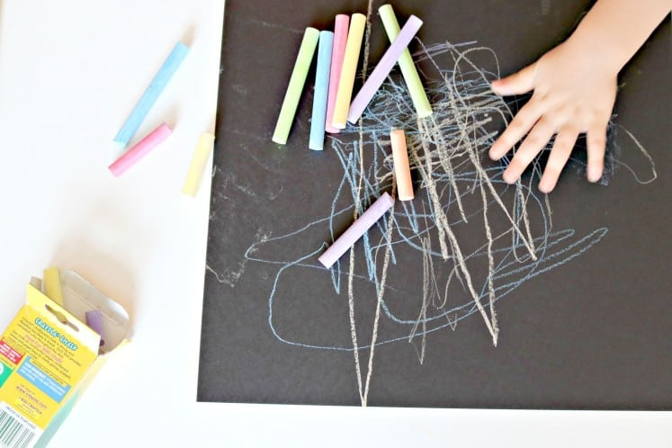 child's chalk art