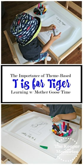 collage of tiger activities for toddlers with text overlay: T is for Tiger The Importance of Theme-Based Learning with Mother Goose Time