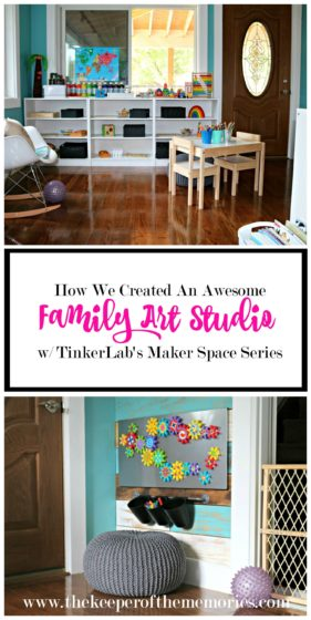 collage of organized craft room images with text: How We Created An Awesome Family Art Studio w/ TinkerLab's Maker Space Series