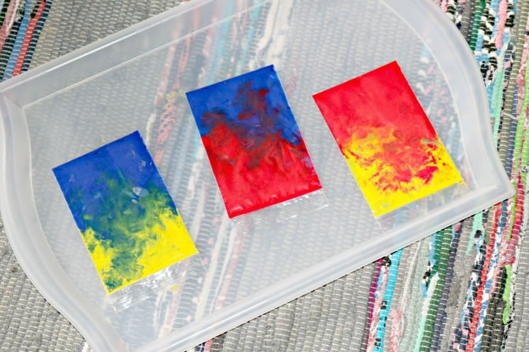 paint in clear zip bags on tray