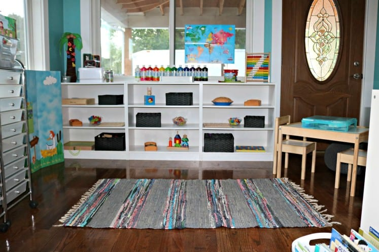 bookshelves with neatly organized toys and games
