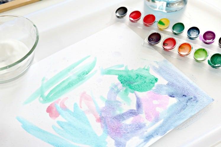 preschooler's salt painting art