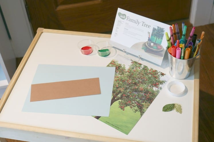 Family Tree invitation to create set up on table with instructions, art supplies, inspiration photo and cardstock
