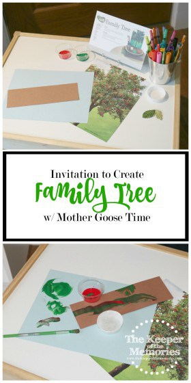 collage of process art images with text overlay: Family Tree Invitation to Create with Mother Goose Time