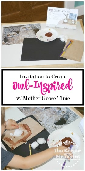 collage of owl process art images with text overlay: Owl-Inspired Invitation to Create with Mother Goose Time