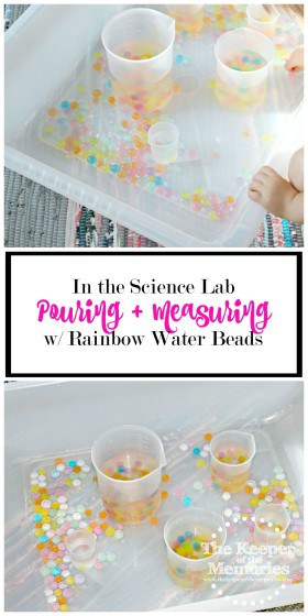 sensory bins with rainbow water beads and plastic beakers with text overlay: In the Science Lab Pouring & Measuring with Rainbow Water Beads