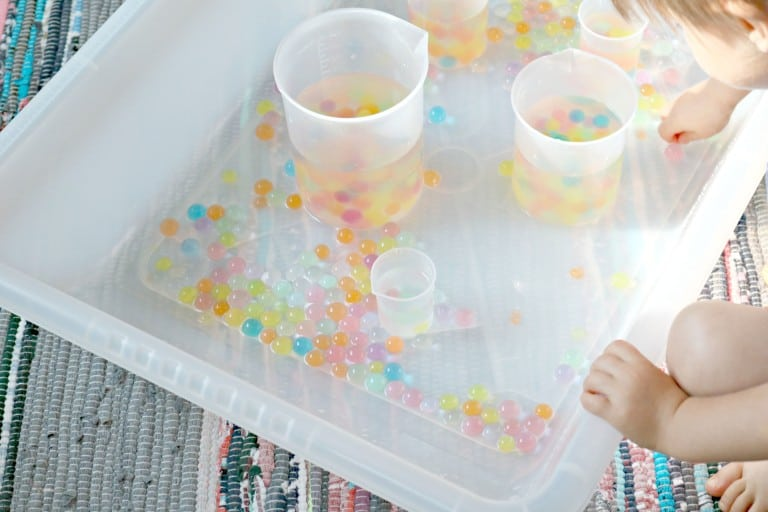 Pouring + Measuring w/ Rainbow Water Beads