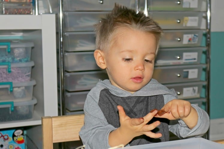 toddler painting hands with brown paint