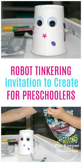 collage of robot process art images with text overlay: Robot Tinkering Invitation to Create for Preschoolers