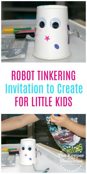 Check out this awesome Robot Tinkering Invitation to Create Process Art Experience for Little Kids. It's quick and easy too!