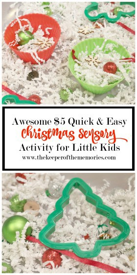 collage of Christmas sensory bin images with text overlay: Awesome $5 Quick & Easy Christmas Sensory Activity for Little Kids