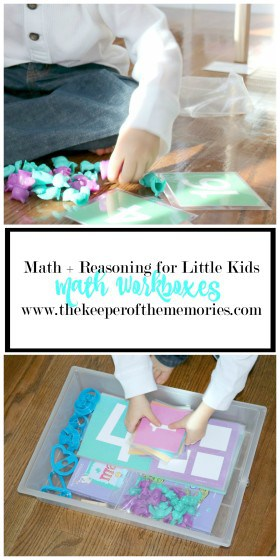 collage of math materials with text overlay: Math & Reasoning for Little Kids Math Workboxes