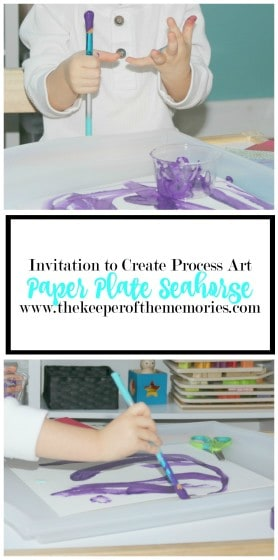 collage of process art images with text overlay: Paper Plate Seahorse Invitation to Create Process Art