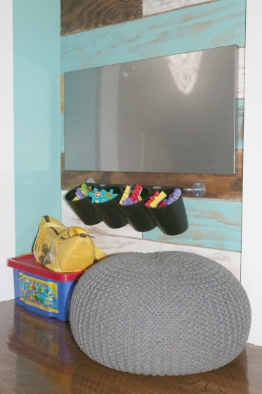 magnet board with magnetic gears and bean bag chair